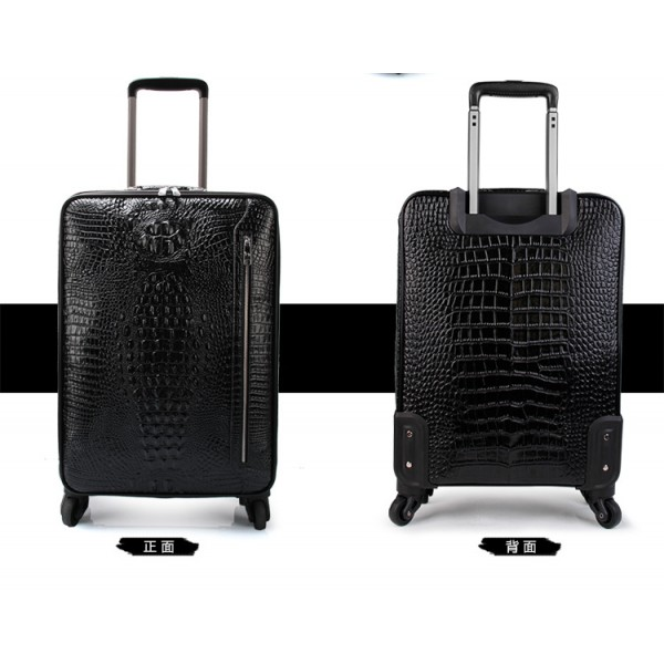 men Genuine Leather retro trolley luggage bag business suitcase with wheels