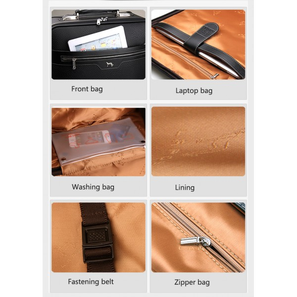 men black carry on rolling luggage PU leather Suitcases on wheel