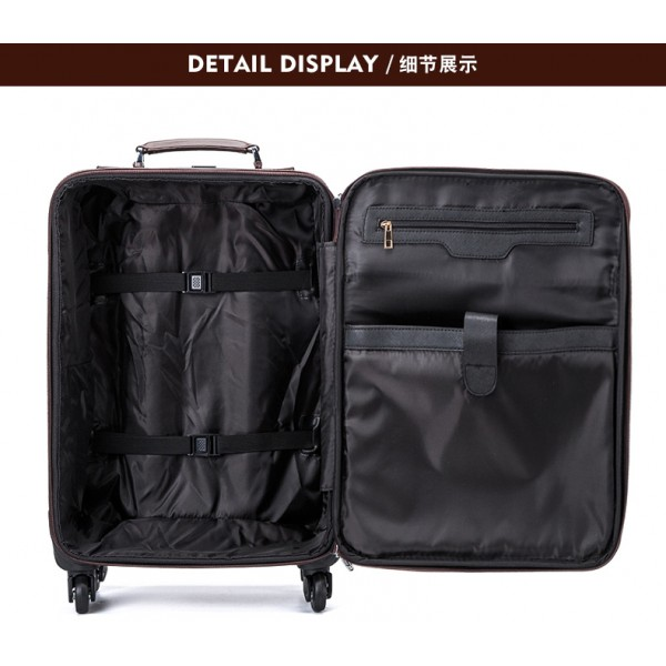 men retro trolley rolling luggage leather spinner brown cabin suitcase