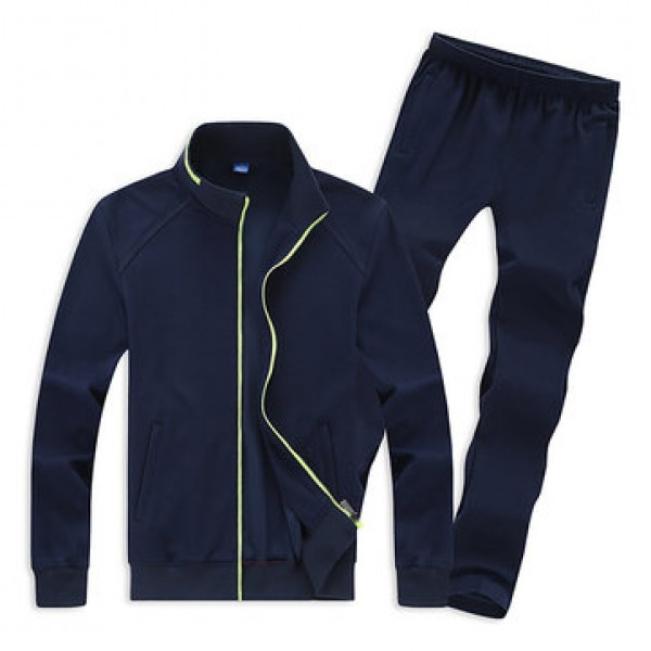 Mens Casual Plus Size Solid Color Tracksuits Stand...