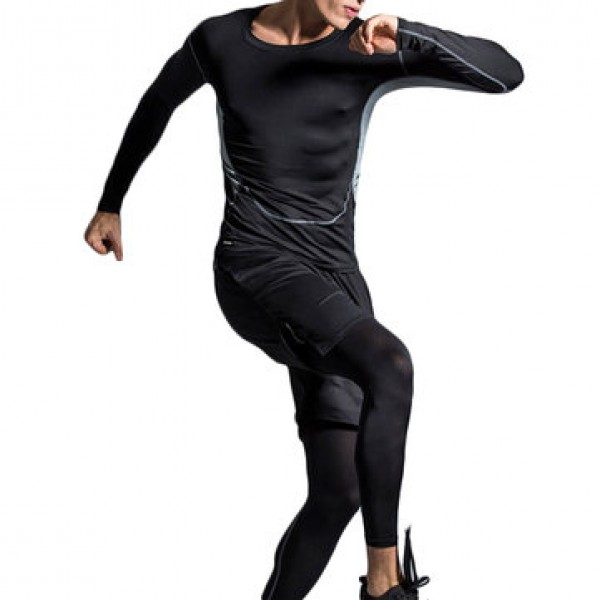 Three-piece Elastic Fitness Suits Men Long-sleeved Running Training Breathable Sportswear Pants