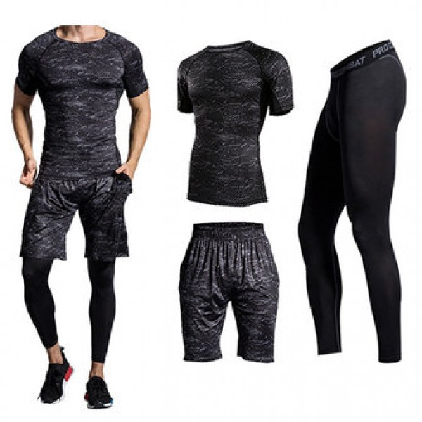 Three-piece Printing Thin Short-sleeved T-shirt Men Running Training Sweat Breathable Sports Suits