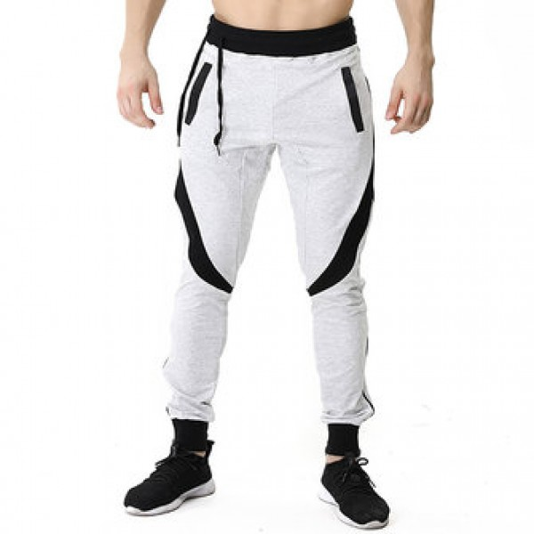 Men Casual Stitching Color Slim Fit Joggers Sport ...