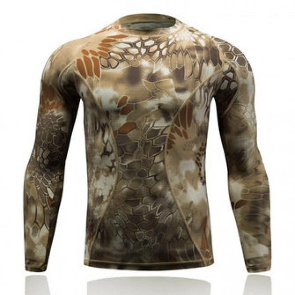 Camouflage Tight-fitting Quick-drying T-shirts Out...