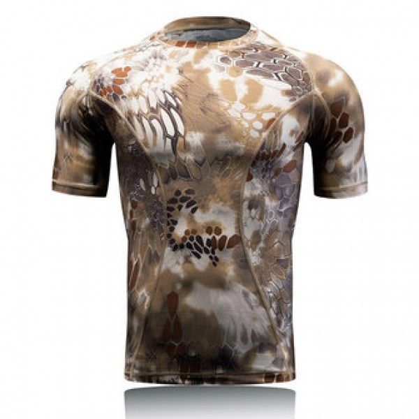 Outdoor Quick Dry Elasticity Camouflage Short Slee...