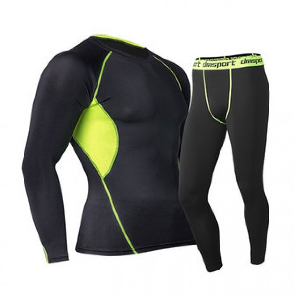 Pro Sports Fitness Suit Mens Breathable Thermal Qu...