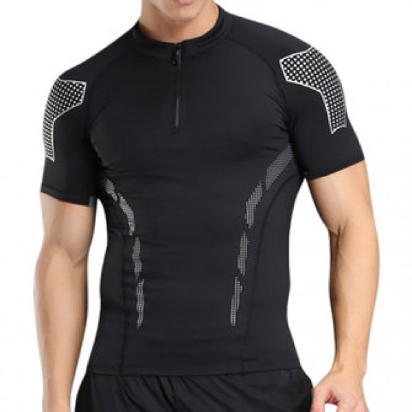 Summer Casual Mens Fitness Quick Drying Breathable Slim Fit Training Sport T-shirt