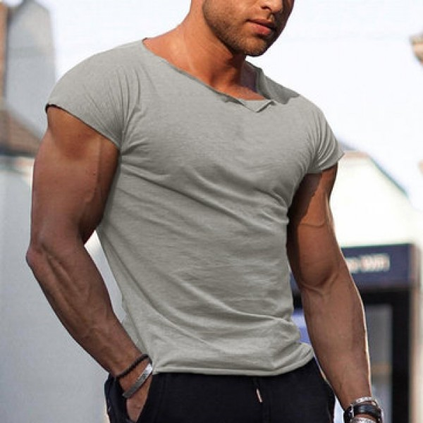 Men Cropped Neck Muscle Fit Gym Tops