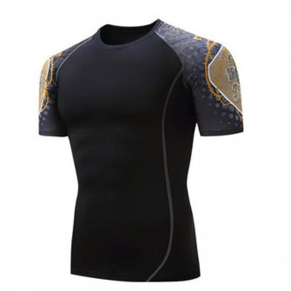 Summer Casual Men Gym Fitness Training Tights Sports T-shirts Quick Drying Elastic O-Neck Tees