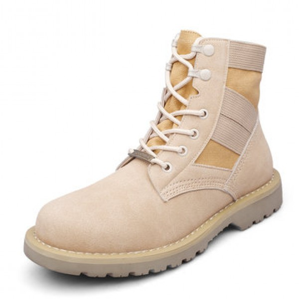 T02 Outdoor 14CM Men Martin Leather Mid-calf Boots...