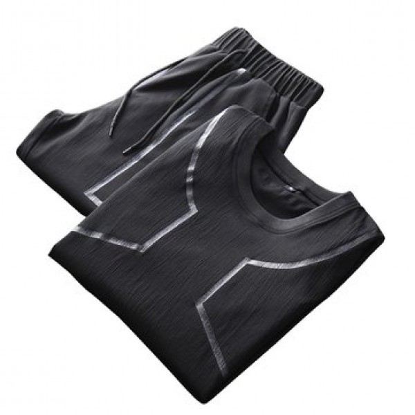 Men Sports Two Pieces Fitness Leisure Soft Slim Fi...