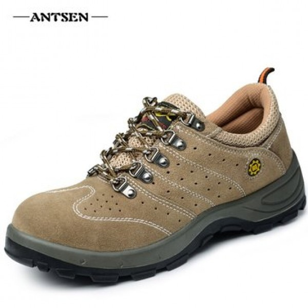 ANTSEN Men Steel Toe Sneakers Safety Shoes Work Shoes Hiking Camping Anti-Smashing Durable Shoes