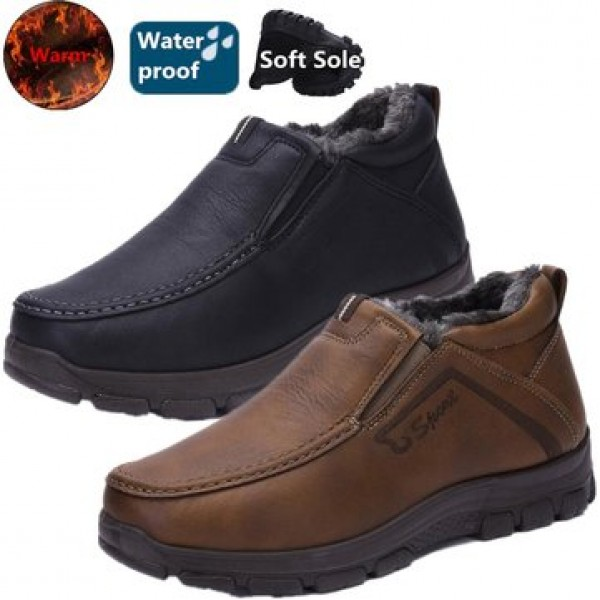 Boots Men Winter Fur Warm Shoes Snow Ankle Thicken Winter Sports Sneakers Cotton Leather