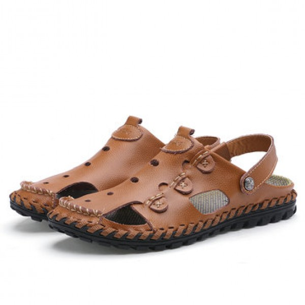 Men Outdoor  Daily Casual Sandals Wrapped Toe Leat...