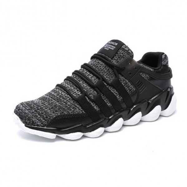 Men  Breathable Ankle Sneakers Stretchy Weave Knit...
