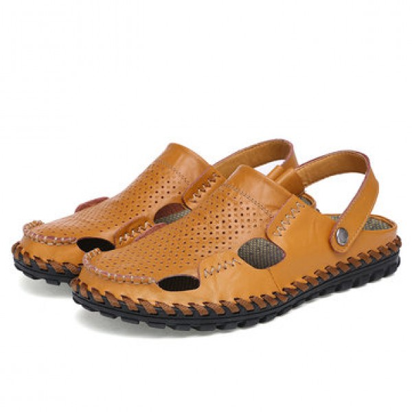 Leather Hollow Men Sandals Slippers Summer Casual ...