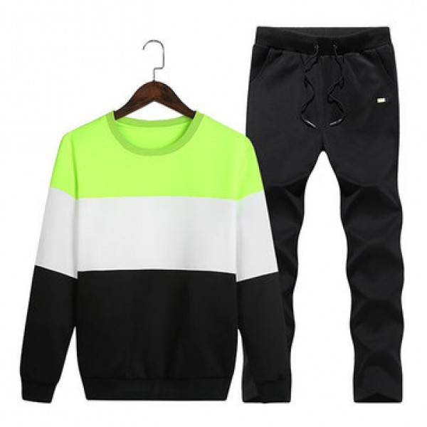 Mens Casual Sport Suit Stitching Color Long Sleeve...