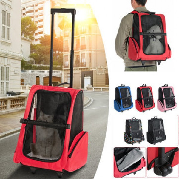 2 In 1 Pet Carrier Backpack Dog Cat Puppy Cart Bre...