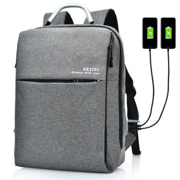 15.6 Inch Multi Pockets Dacron Backpack Solid Lapt...