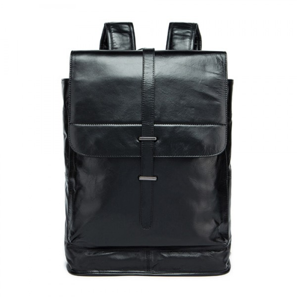 Men Fashion Casual Business Genuine Leather Backpa...